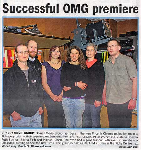 OMG Premiere article from Orkney Today